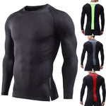 Mens Fitness Long Sleeves Rashguard T-Shirt Bodybuilding Skin Tight-drying Tops