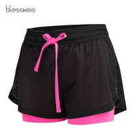 BLESSKISS 2 in 1 Mesh Sport Shorts Women Summer Plus Size Girl Lulu Running Cycling Gym Yoga Shorts For Ladies Fitness Clothes