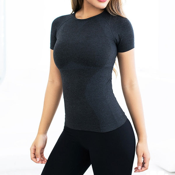 Women's Energy Seamless Yoga Shirts Short Sleeve Fitness Gym Top Active Workout Shirt Dry Fit Compression Sports Running T-shirt