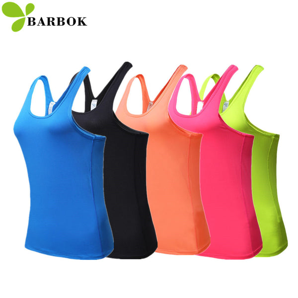 BARBOK Sleeveless Yoga Shirts Women Sexy Gym Sports Wear Tops Fitness Tight Workout Clothing Running Vest Quick Dry Yoga Clothes