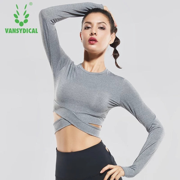 Vansydical Women's Gym Yoga Shirts Long Sleeve Running Sportswear Fitness Workout Sports T-shirts Yoga Clothes Crop Tops