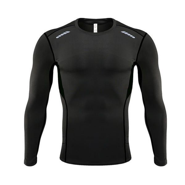 Men Compression Sports Fitness Long Sleeves Running T Shirts S-3XL Gym Workout Training Soccer Tees Men Shirt tight 2019