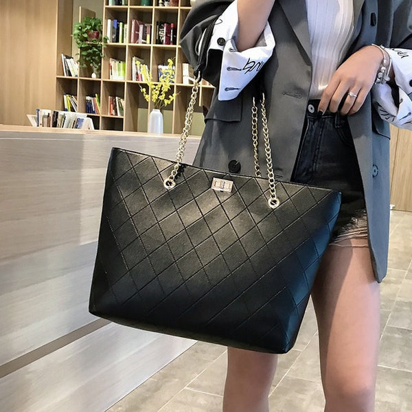 Large Women Casual Totes Bag Female simple black hobos bags PU Leather Shopper Shoulder Bags Lady Big Mommy Handbag Bolso Mujer