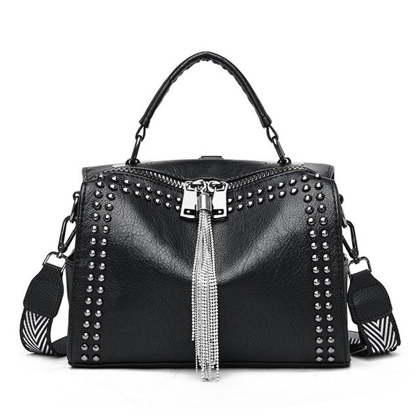 Brand Women Leather Handbags Fashion Rivet Female Bag Black High Capacity Crossbody Bags for Ladies 2020 New Luxury Shoulder Bag
