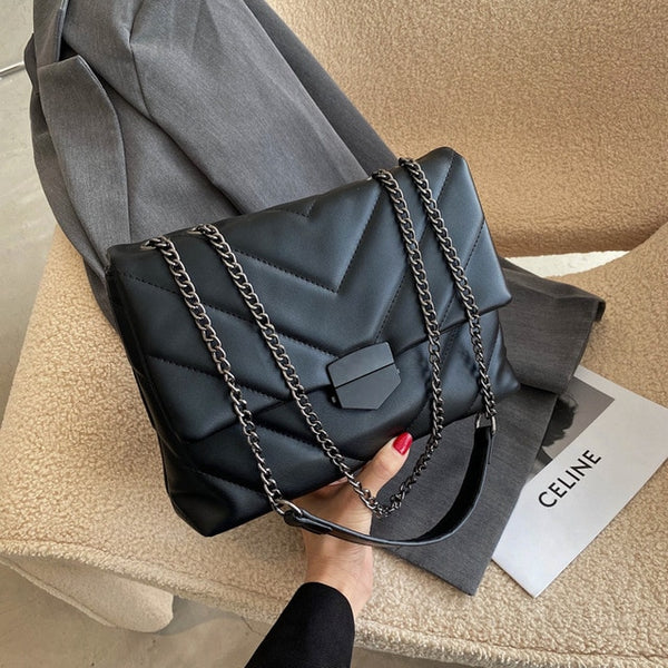 Classic Black Quilted Shoulder Bags for Women 2021 New Fashion Chain Flap Crossbody Messenger Bag Female Quality Leather Handbag