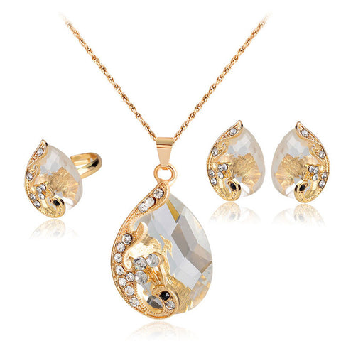 High Grade Crystal Peacock Gold Tone Necklace, Earrings, Ring, Jewelry Set