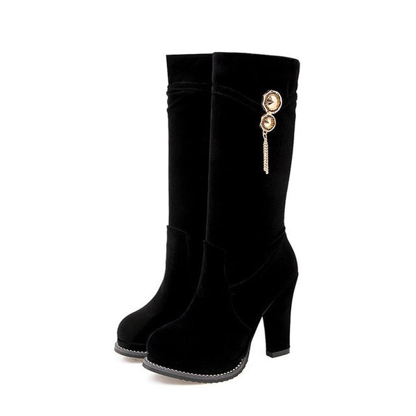 High Fashion Bling Zipper Platform Bling Super High Mid Calf Boots