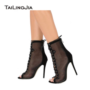 Fashion High Heel Mesh Peep Toe See Through Ankle Boots