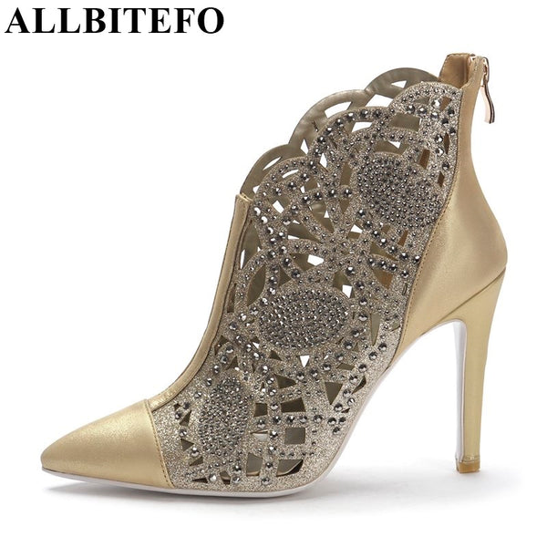 New Fashion Genuine Leather Rhinestone Cut-Outs High Heels Party Shoes