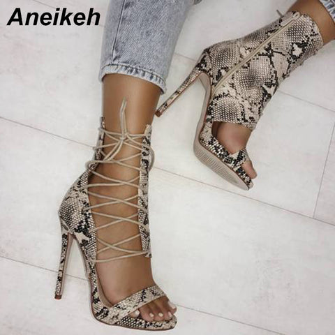 New Summer Gladiator Sandals Serpentine Strappy Peep Toe Heels Ankle Boots