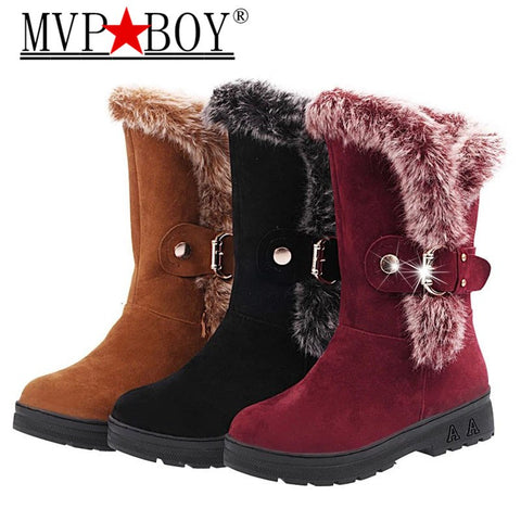 Elegant Hot Fur Lined Solid Warm Angle Boots