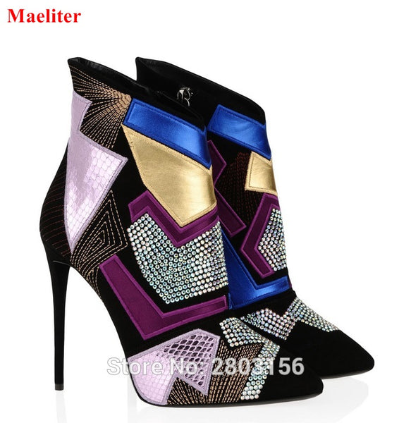 Sexy Mixed-Colors High Heels Lady Stiletto Pointed Toe Patchwork Rhinestone Boots