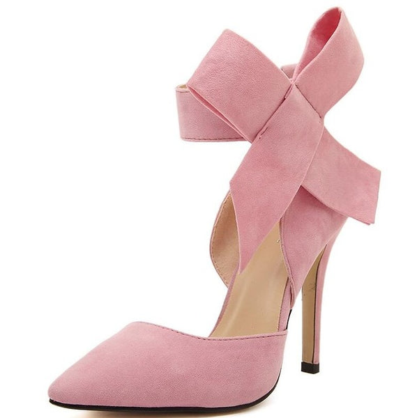 Women's Big Bow Tie Butterfly Pointed Stiletto Shoes