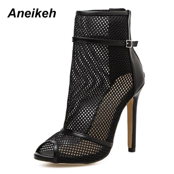 Sexy Black Mesh Ladies Cut Out Style High Heels Peep Toe Sandal Boots
