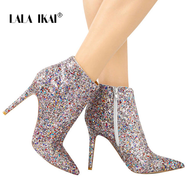 Bling Sequined Zipper Pointed Toe Casual Fashion Ankle Boots
