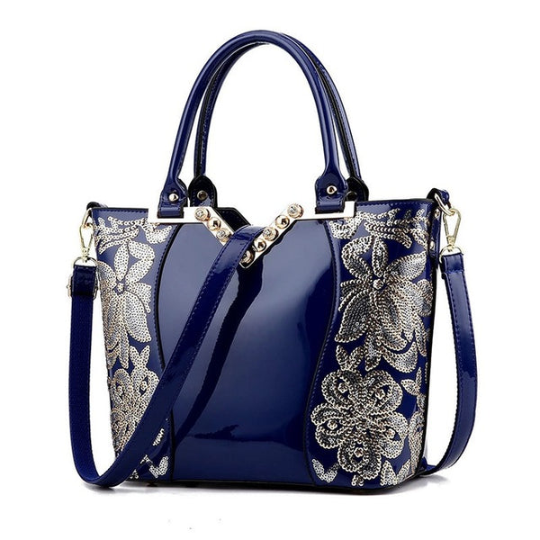 Luxury Sequin Embroidery Patent Leather Handbag Famous Brand Designer
