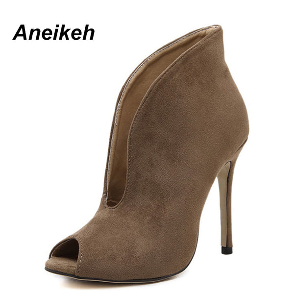 Summer Fashion Women's Ankle Boots Peep Toe High Heels Suede Sandals