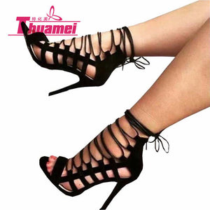 Fashion Thin Heel Sexy Super High Heels Lace Up Black