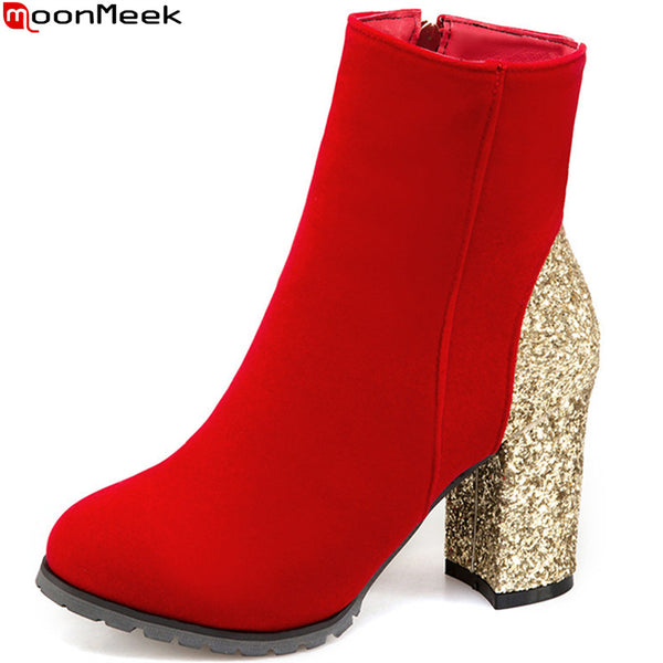 Elegant Fashion Bling Round Toe Zipper Square Heel Plus Size Ankle Boots