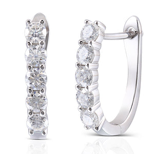 Queen Brilliance 1.6ctw Moissanite Diamond Earrings Platinum Plated 925 Sterling Silver