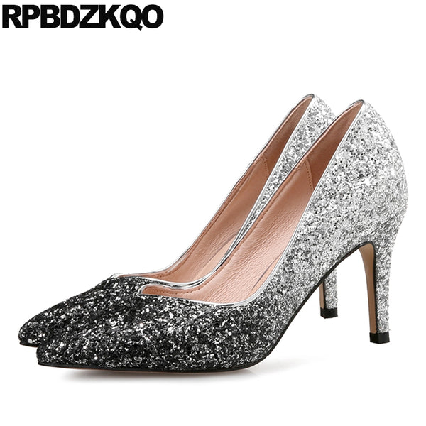 Bling Glitter Party Pointed Toe Silver Pumps for Plus Sizes