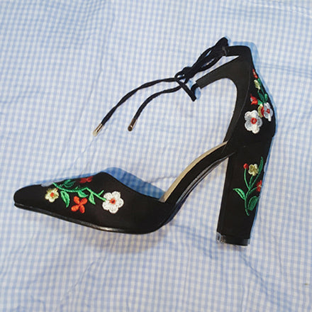 Embroider Women's High Heels Pointed Toe Lace Up Cross-tie Elegant Ladies Shoes