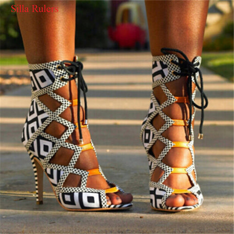 Hot Gladiator Women's Sandal Lace Up Cut Out Boots