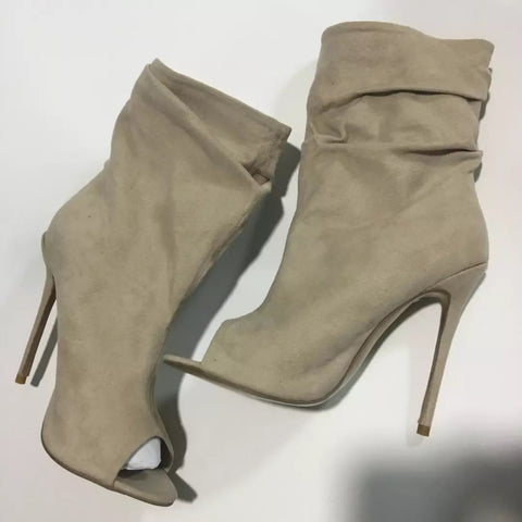 High Quality Ankle Boots Suede High Heel Open Toe Gladiator Boots