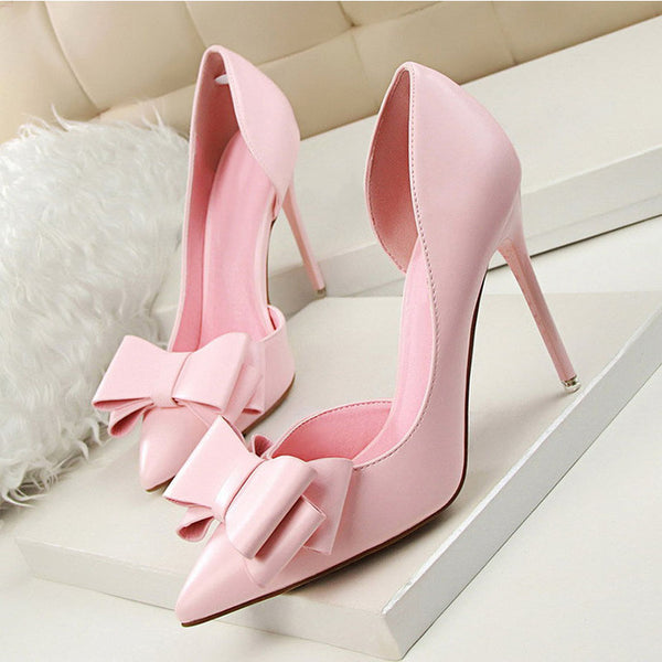 Fashion High Heel Shoes Hollow Pointed Toes Sweet Pink Red Stiletto