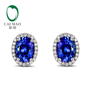 14k White Gold 2.71ctw  Violet Blue Tanzanite & Natural Diamond Engagement Stud Earrings