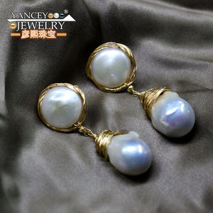 Baroque Classy Seawater Pearl Drop Earrings 9K Gold Tassel