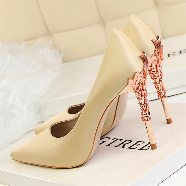 Elegant Metal Carved Heels Women's Solid Silk Pointed Toe Shallow Fashion High Heels