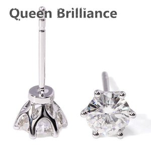 Genuine 14K White Gold 1ctw Moissanite Diamond Stud Earrings