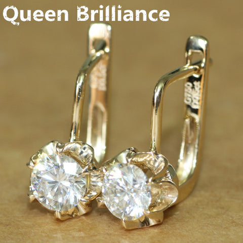 Elegant 14K Yellow Gold 1Carat ctw Moissanite Diamond Flower Stud Earrings
