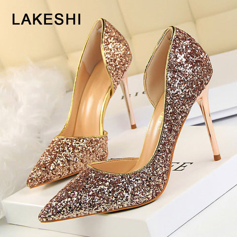LAKESHI Women's Sexy High Heel Shoes Thin Heel