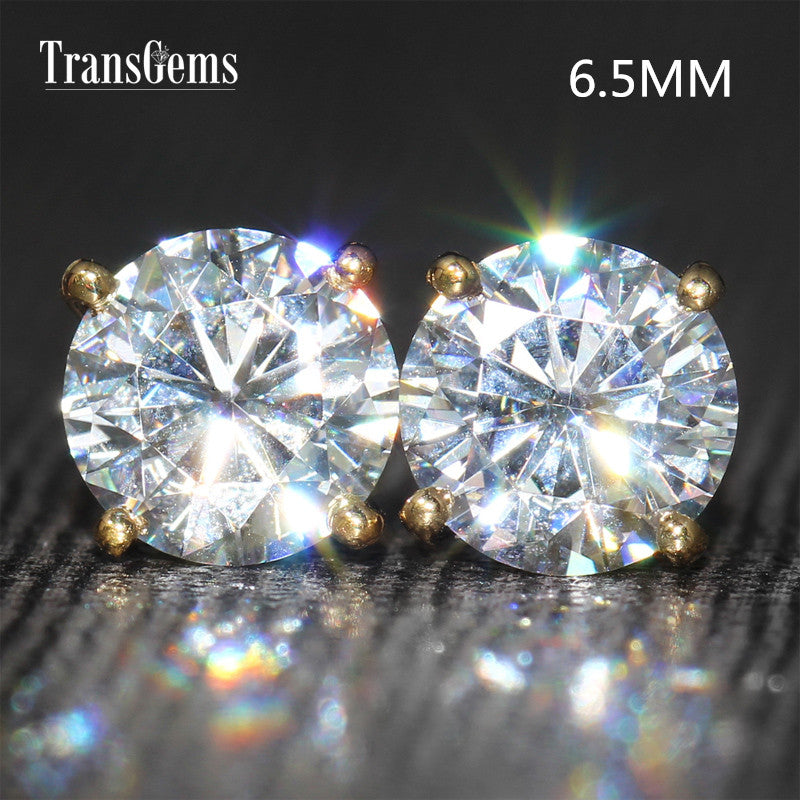 Bling 14K Yellow Gold 2ctw Moissanite Diamond Stud Earrings