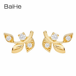Elegant 18K Yellow Gold 100% Natural Diamonds Stud Earrings