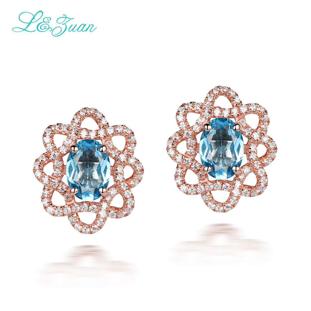 Hot Trendy Delicate Sweet 925 Sterling Silver Natural Topaz Stone Elegant Stud Earring