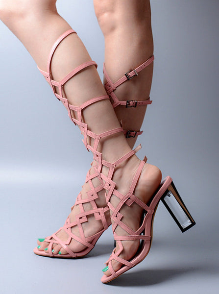 Hot Runway Peep Toe Knee High Narrow Band Gladiator Sandals