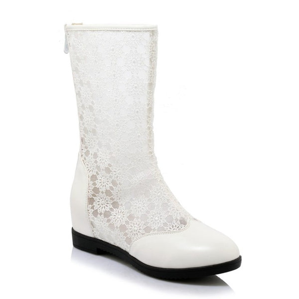 Fashion Mesh Lace Sexy Ladies Angle Boots