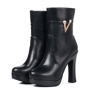 Fashion Bling Platform Super High Heels Plus Size Ankle Boots