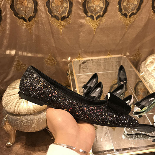 Bling Glitter White Silver Pointed Toe Ballerina Flats for Plus Sizes