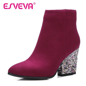 Fashion Bling Rhinestone Thick High Heel Ankle Boots