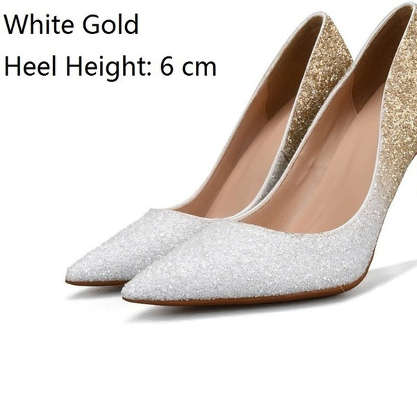 Fashion Bling Gold High Heels for Plus Sizes