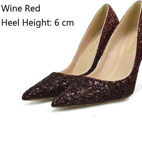 Fashion Bling Party Gold High Heels Plus Size