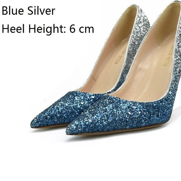 Party Bling Gold Fashion High Heels Plus Sizes