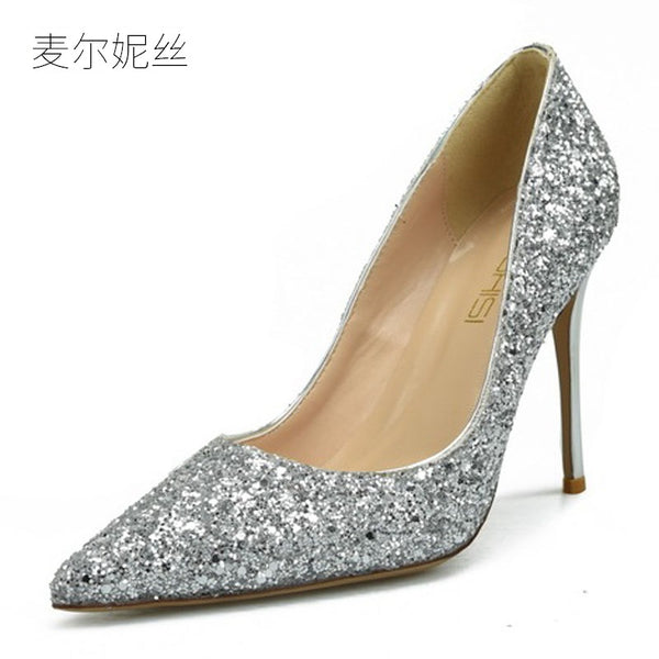 Fashion Bling Silver High Heels for Plus Sizes