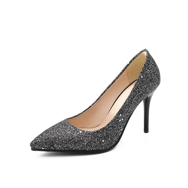 Bling High Heels Glitter Pointed Toe Party Plus Size Shoes