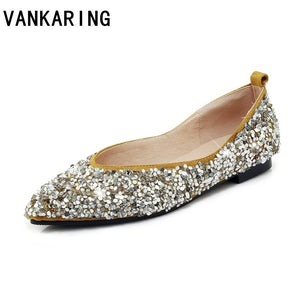 Fashion Bling Sequined Cloth Leather Plus Size Ballet Flats