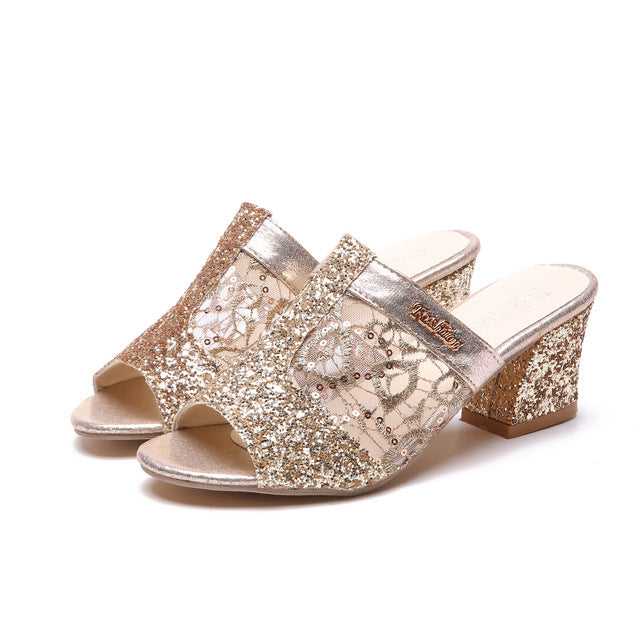 Elegant Fashion Gold Lace Plus Size Slip On High Heels